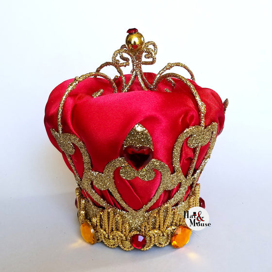 A disney inspired mini crown fascinator for cosplay, dapper day, pinup, vintage, disneybound, halloween costume for queen of hearts.