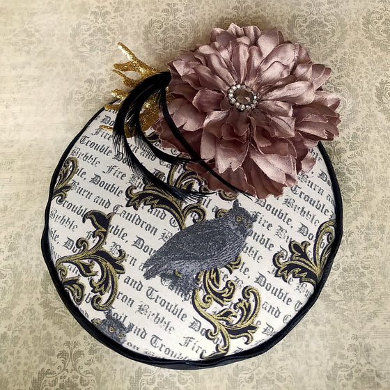 Owl pillbox fascinator hat inspired by harry potter.