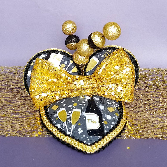 New Years Eve Party Disney Fascinator hat with mouse ears in silver and gold with champagne print.