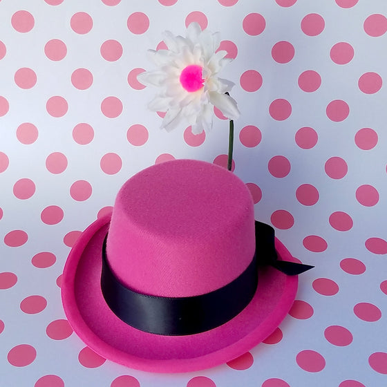 Oswald's girlfriend, Ortensia the cat pink mini hat fascinator. For disney dapper day, costume, cosplay or disneybound.