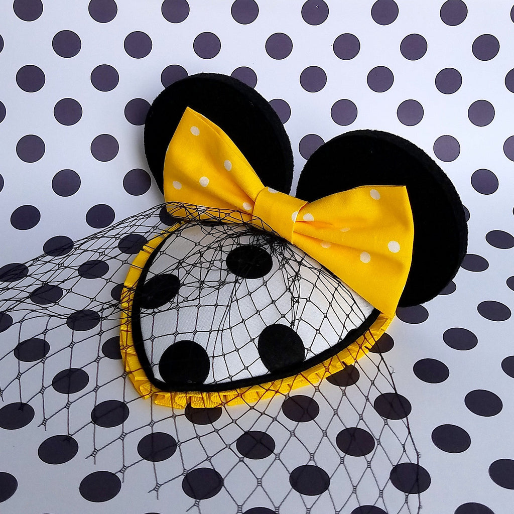 Yellow, black and white polka dot fascinear mouse easr fascinator inspired by the minnie mouse signature collection for disney dapper day, disneybound, cosplay or costume.