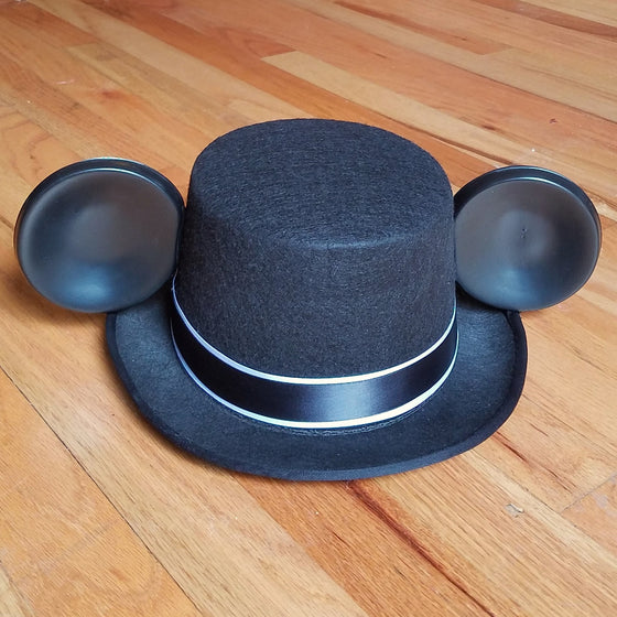 Black Mickey groom top hat with mouse ears.