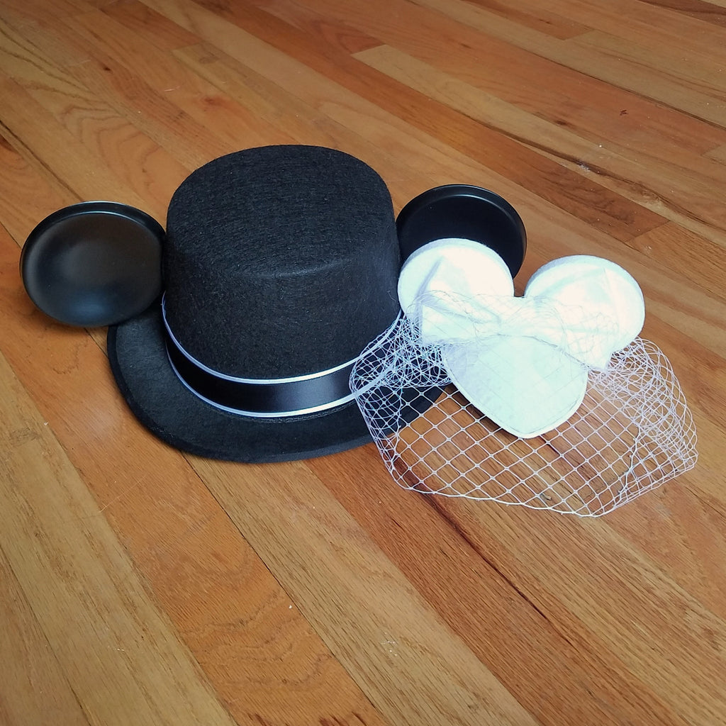 Wedding birdcage veil fascinator with minnie mouse ears for your disney wedding.