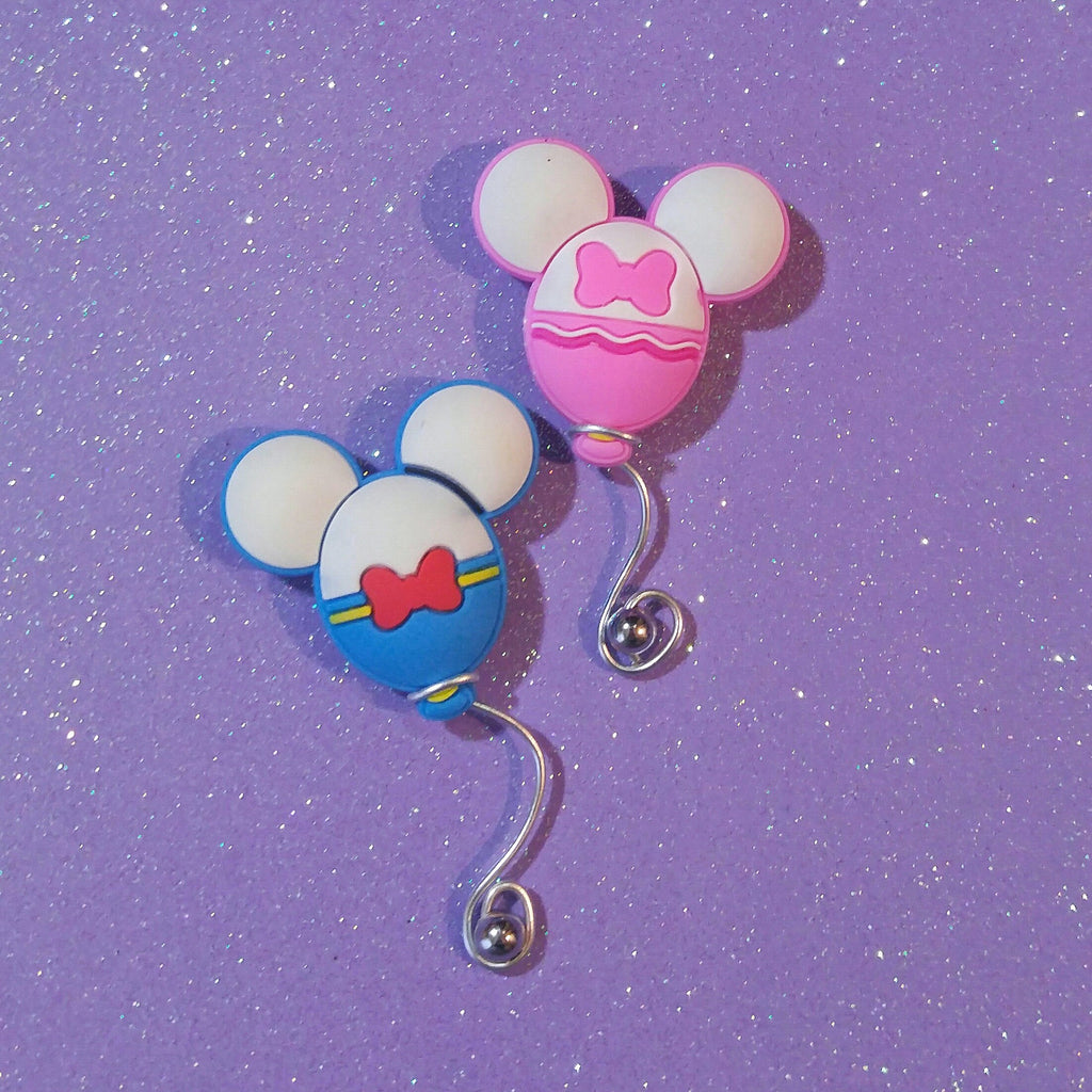 Mickey Mouse Ear balloon brooch in Daisy Duck colors. Disney jewelry pin.