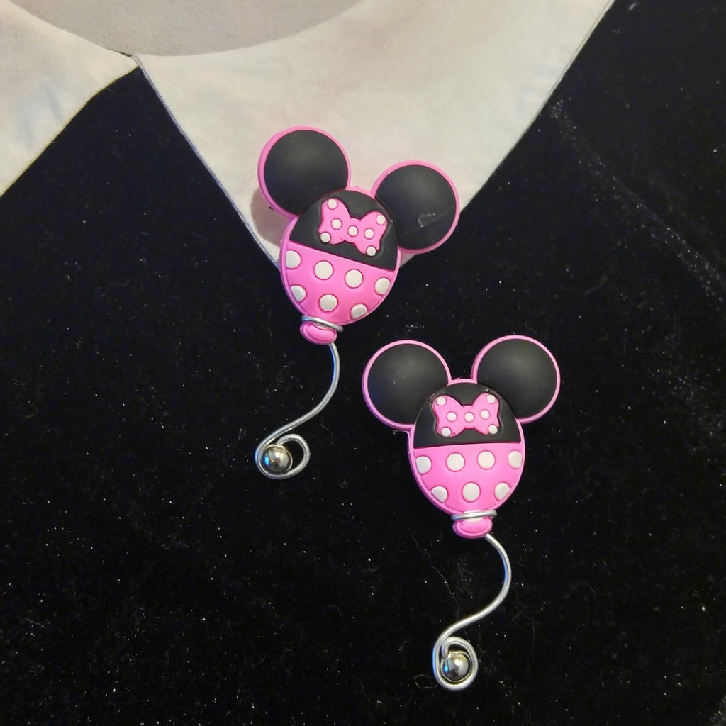 Mickey Mouse Ear balloon brooch in Minnie colors. Disney jewelry pin.