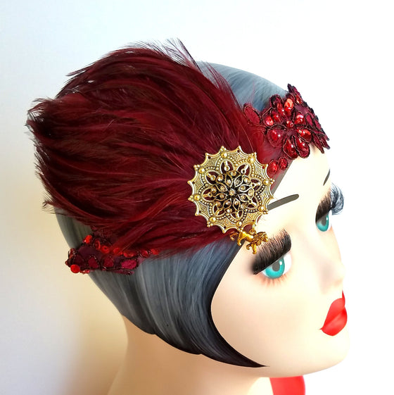 1920s flapper, great gatsby art deco inspired headband headpiece in harry potter gryffindor colors.