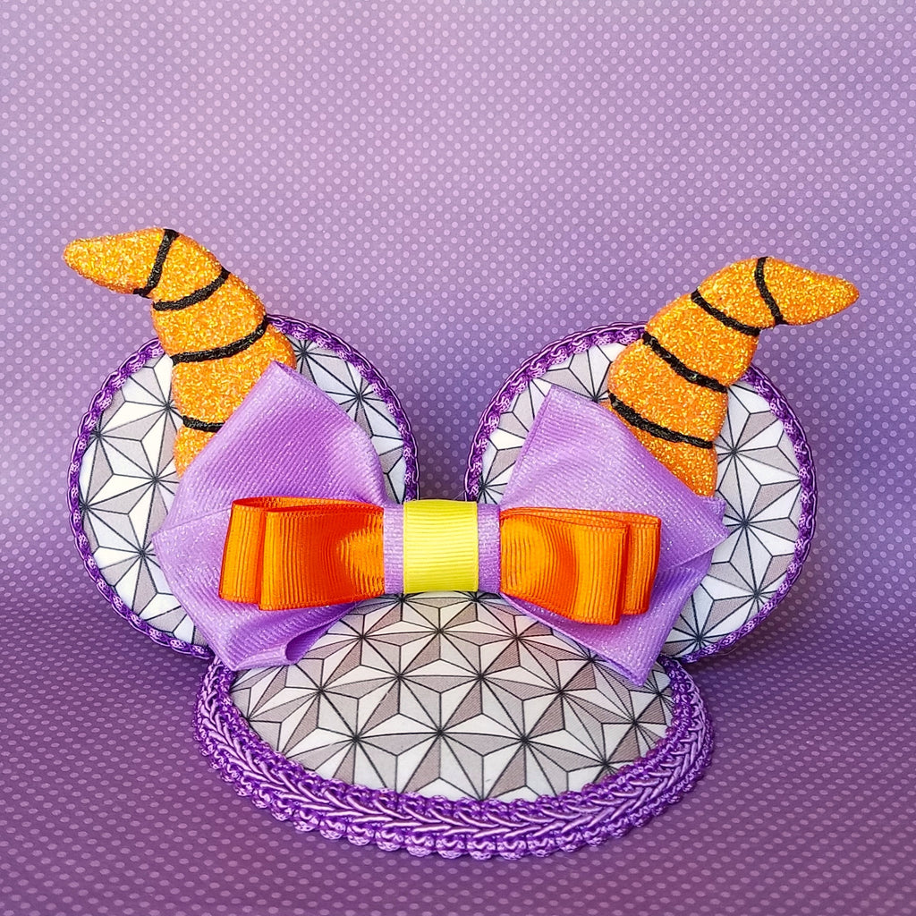 FascinEars by Hat and Mouse. Spaceship Earth and Figment dragon Epcot inspired fascinator hat with mouse ears for dapper day and disneybound.