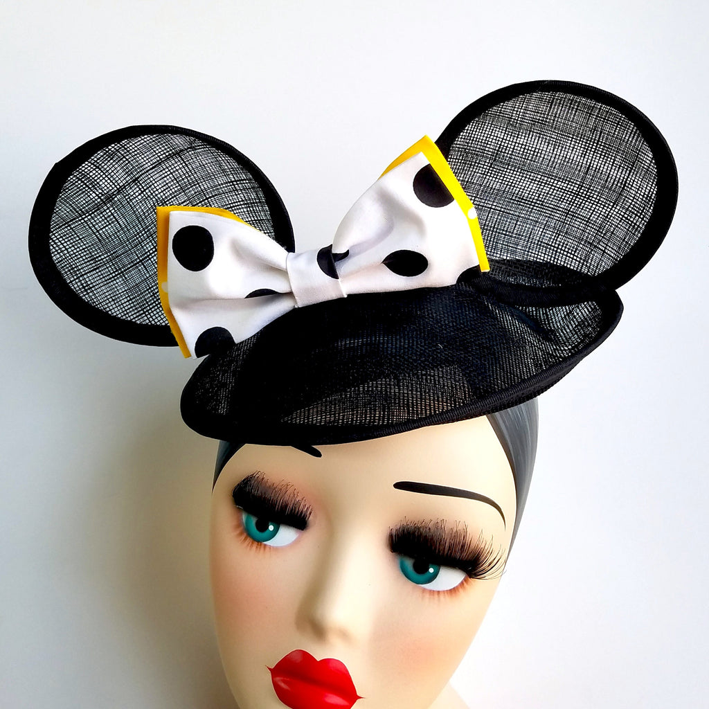 Hat and Mouse sinamay fascinator hat with yellow signature collection minnie mouse ears and polka dot bow. Vintage style tilt, saucer hat in black for disneybound, dapper day or costume.
