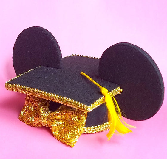 Mouse ears mini graduation cap hat in black and gold. Disney grad nights minnie mickey fascinator hat.