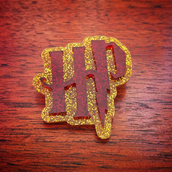 HP Brooch in Scarlet and Gold Glitter Acrylic