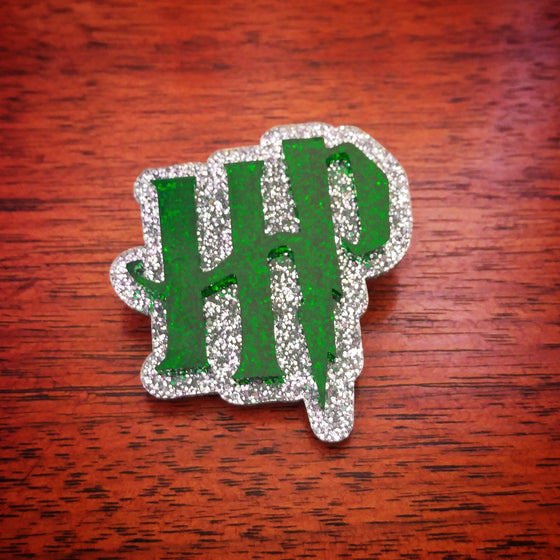 HP Brooch in Emerald and Silver Glitter Acrylic