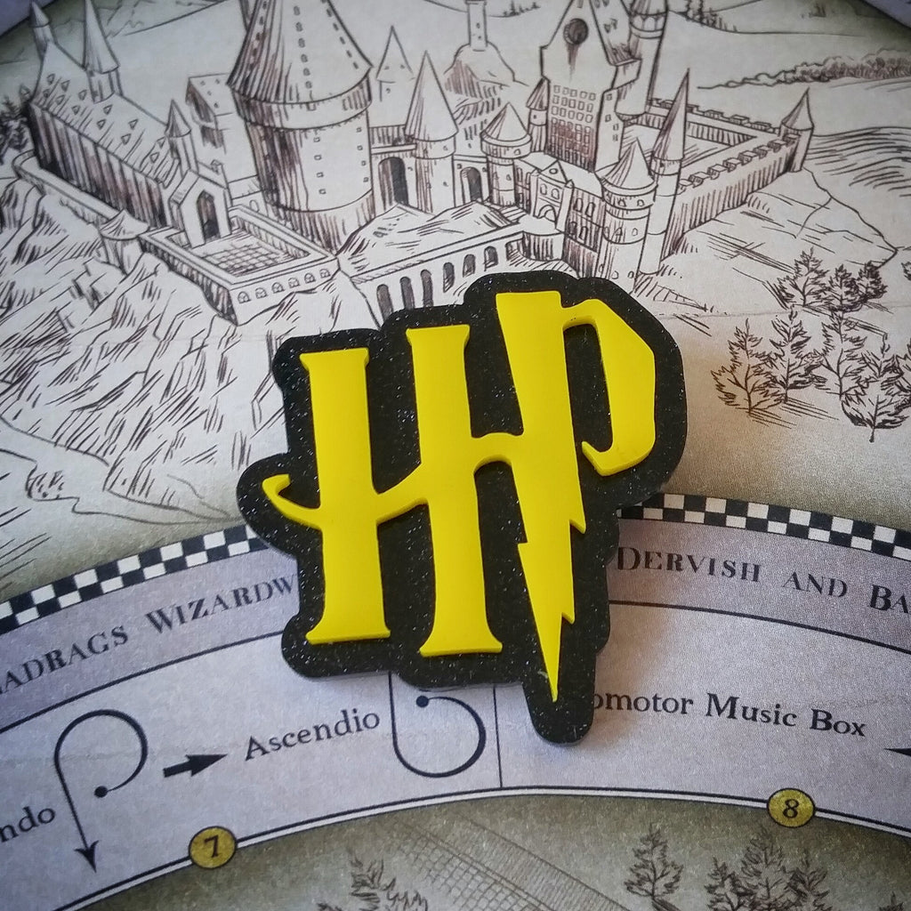 HP Brooch in Yellow and Black Glitter Acrylic