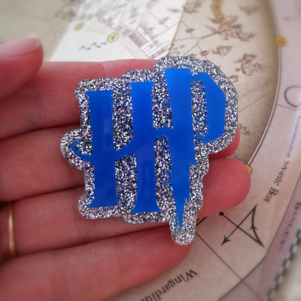 HP Brooch in Blue and Silver Glitter Acrylic