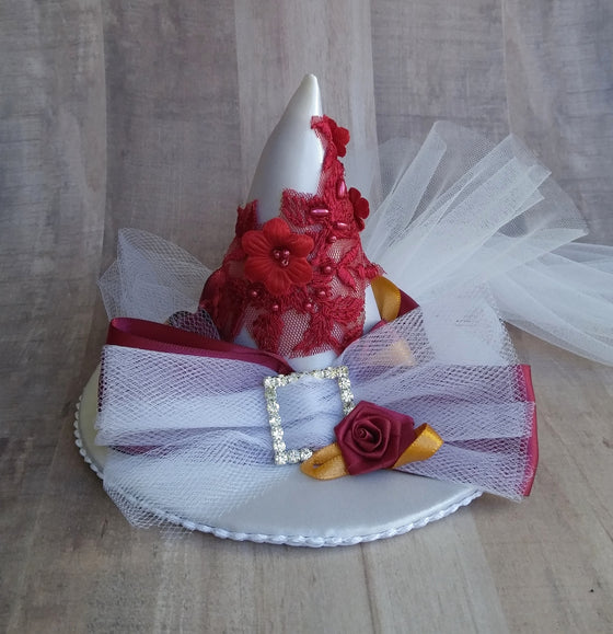 Gryffindor mini bridal witch hat fascinator for a Harry Potter wedding.
