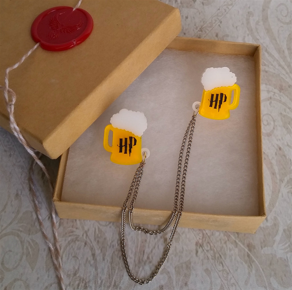 Toasting Butterbeer Collar Clips Sweater Gaurd Pins