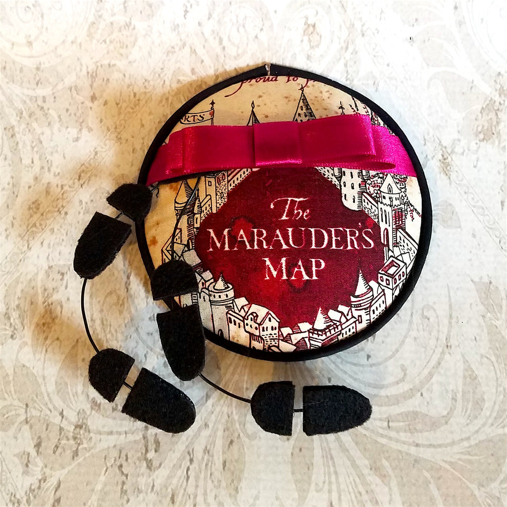 Harry Potter Marauder's Map fascinator hat for costume or cosplay.