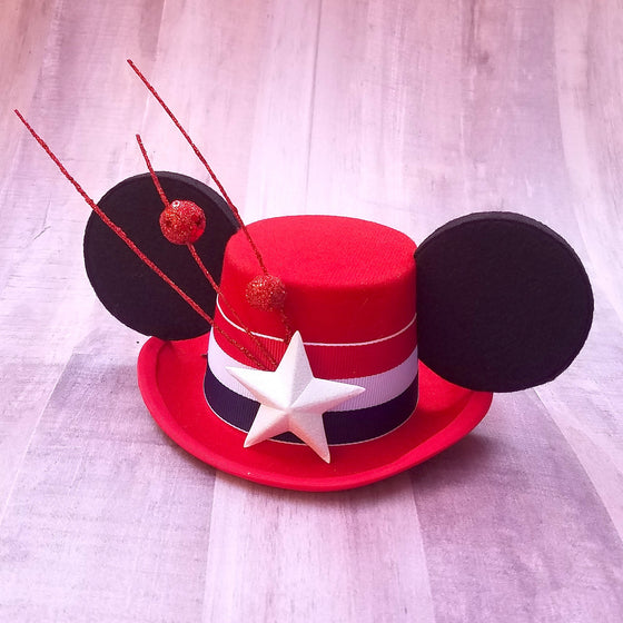 4th of July Mickey Mini Top Hat with mouse ears.