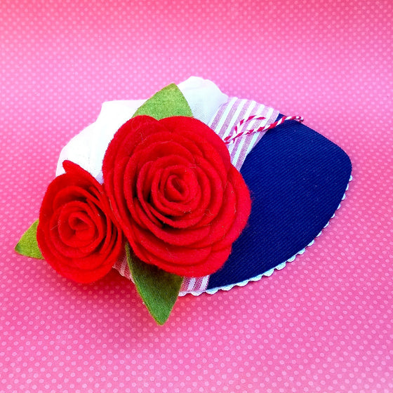 Little Town Belle Blue and Red Roses Fascinator