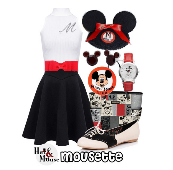 A disney mouseketeer inspired fascinator for pinup, vintage, disneybound or dapper day with mickey minnie mouse ears.