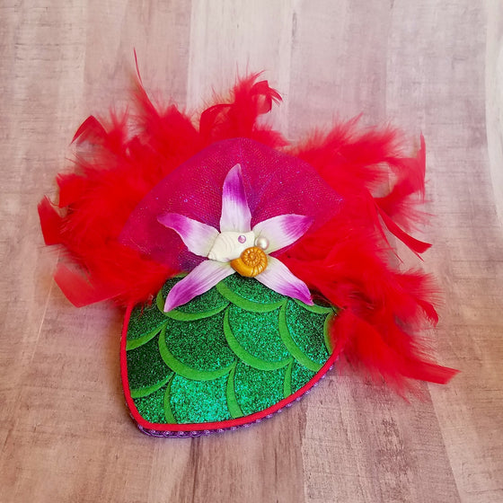 Ariel Little Mermaid Glitter Fascinator Hat In Red and Green for Dapper Day or Disney Bound.