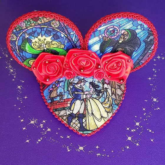 Beauty and the Beast stained glass mouse ear fascinator hat with roses for disney dapper day.