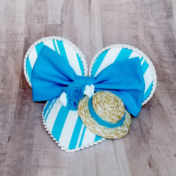 Blue Dapper Dans Mouse Ears Facinator Hat for Dapper Day or disneybound.