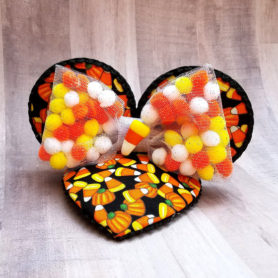 Candy corn mouse ears fascinator hat for disney halloween.