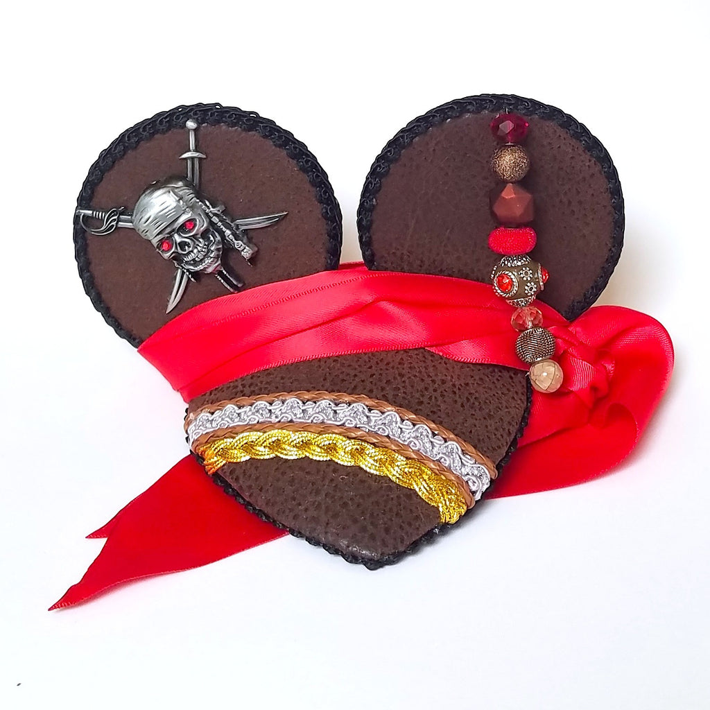 Jack Sparrow Caribbean Pirate Mouse Ears Fascinator Hat for Dapper Day or Disney Bound.
