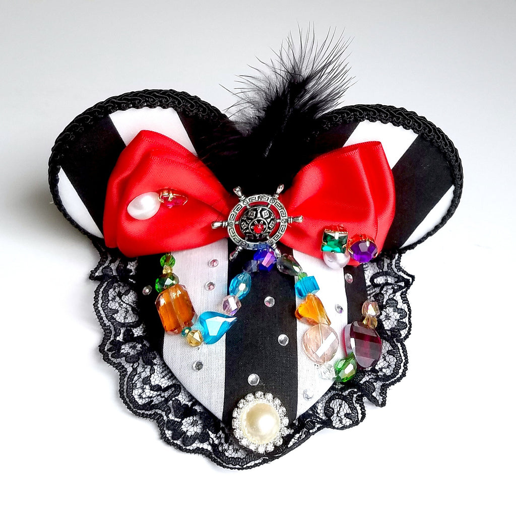 Pirate Treasure Black and White Stripe Mouse Ears Fascinator Hat for Dapper Day or Disney Bound.