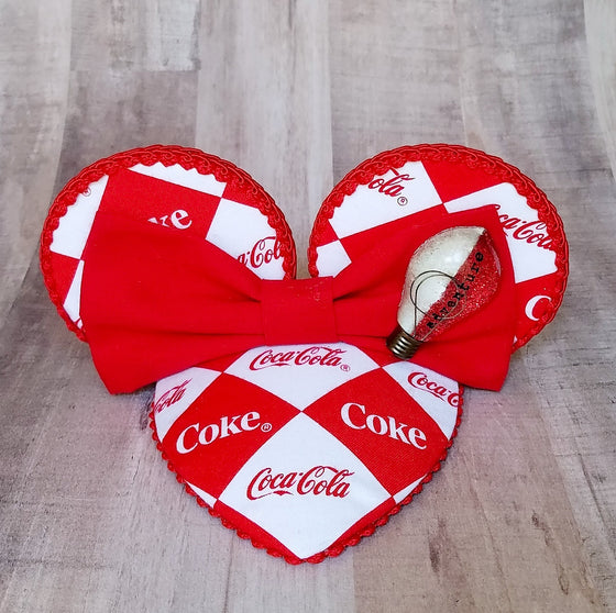 Coke corner special half red half white fascinator hat with mouse ears for dapper day or disneybound.