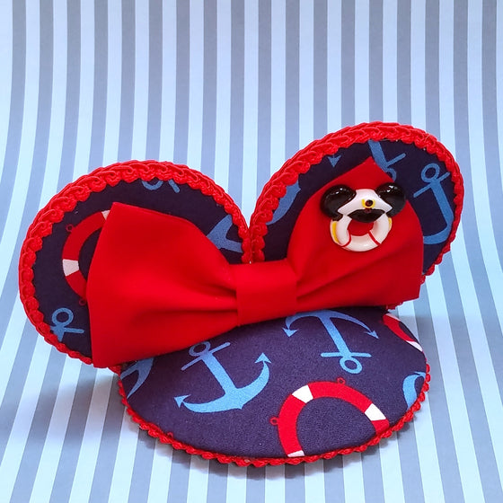 Nautical mouse ear fascinator in red and blue for disney cruise.