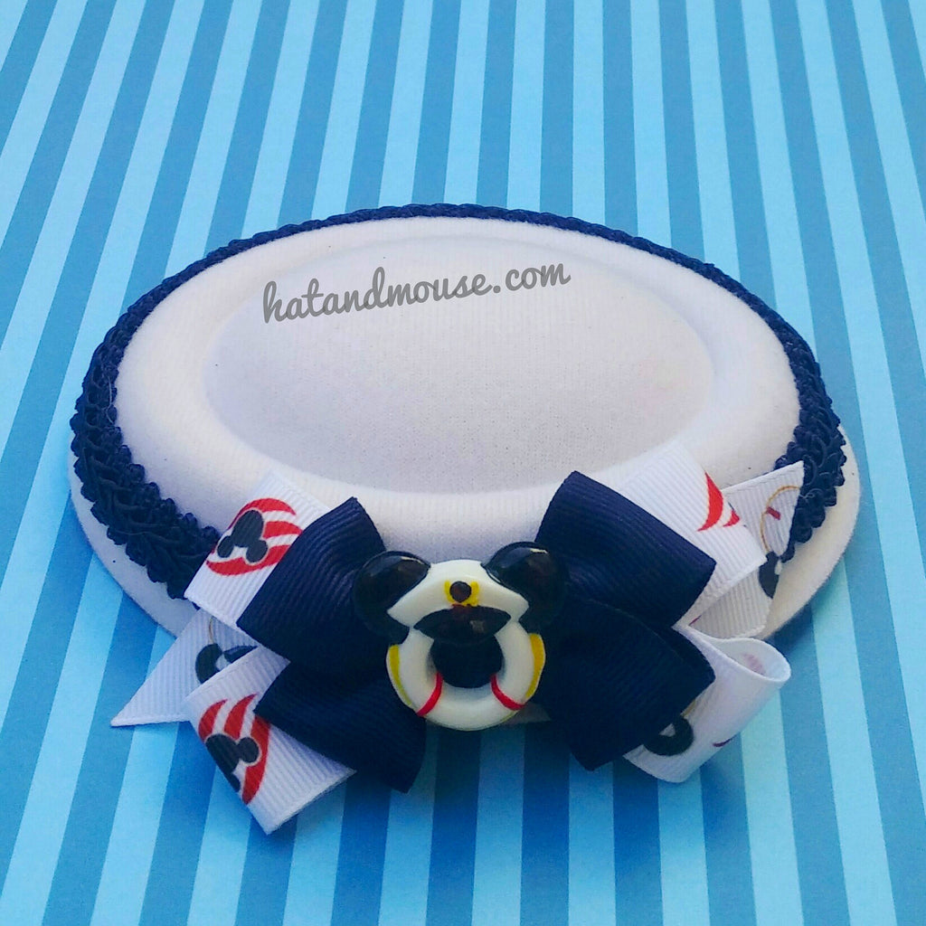Pinup style mini sailor hat in navy for your disney cruise.