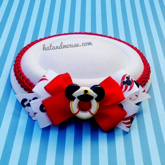 Pinup style mini sailor hat in red for your disney cruise.