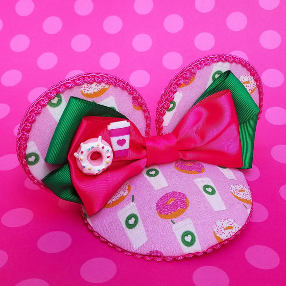 Pink dounts and coffee starbucks mouse ears fascinator hat for disney trips or disneybound.