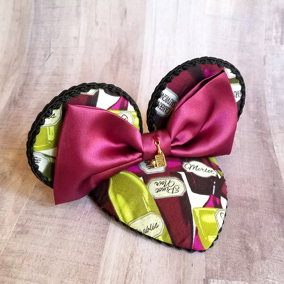 Food and wine mouse ears fascinator hat for epcot festival in burgundy.