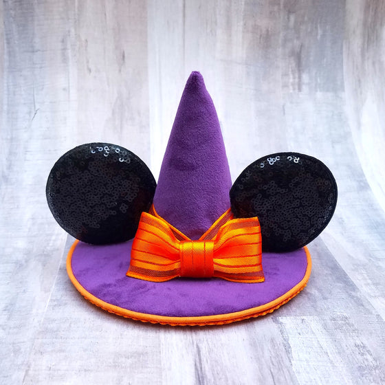 Purple velvet mini witch hat with minnie mouse ears for disney halloween.