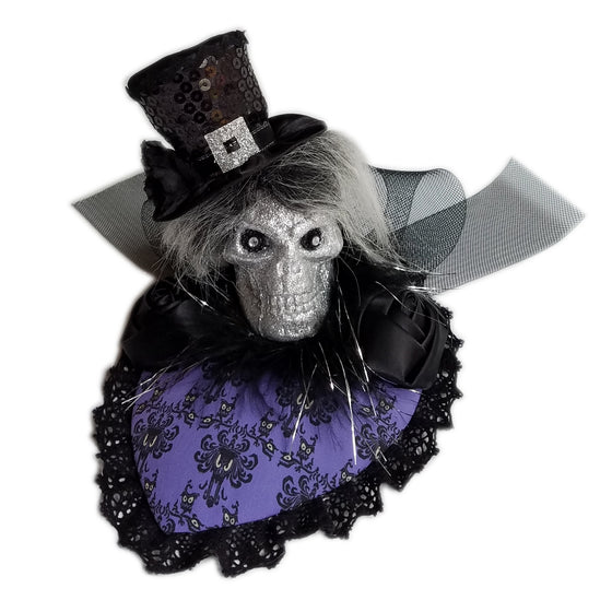 Haunted mansion purple wallpaper hatbox ghost fascinator hat.