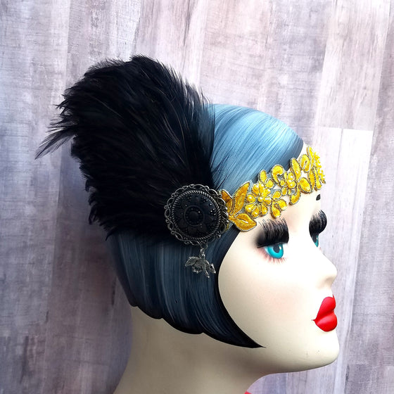 1920s flapper, great gatsby art deco inspired headband headpiece in harry potter hufflepuff colors.