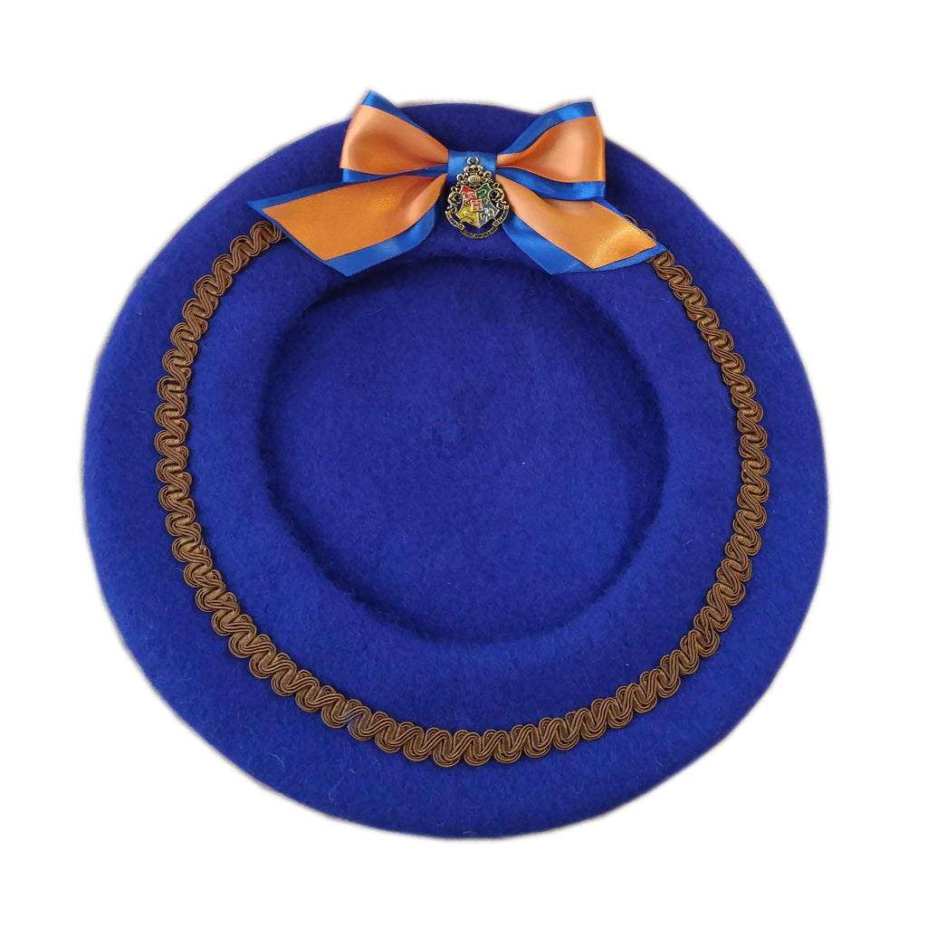 Wizard School Beret in Blue and Bronze House Colors