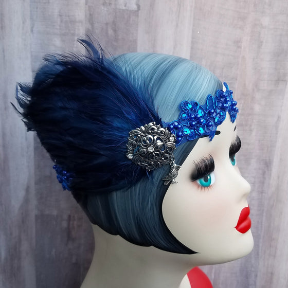 1920s flapper, great gatsby art deco inspired headband headpiece in harry potter ravenclaw colors.