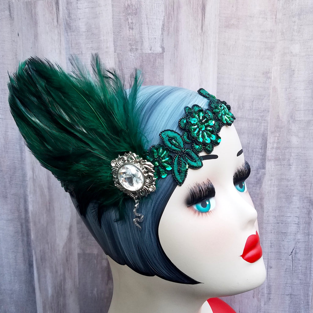 1920s flapper, great gatsby art deco inspired headband headpiece in harry potter slytherin colors.