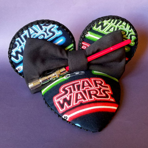 Star Wars lightsaber mouse ears fascinator hat for disneybound or disney dapper day.