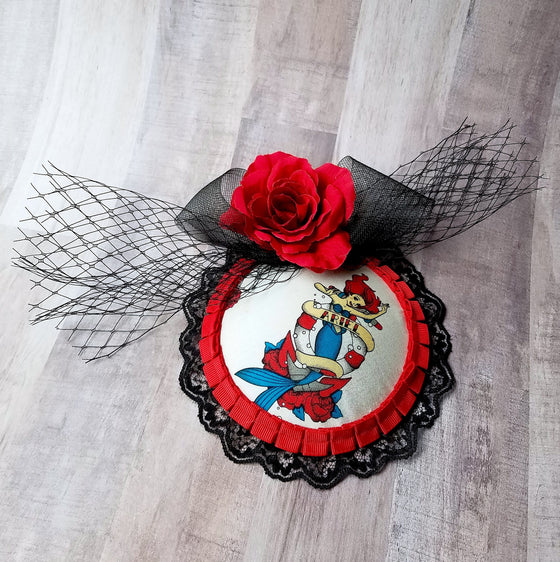 Little Mermaid Ariel Tattoo Fascinator Hat with Rose and Netting for Daper Day or Disney Bound.
