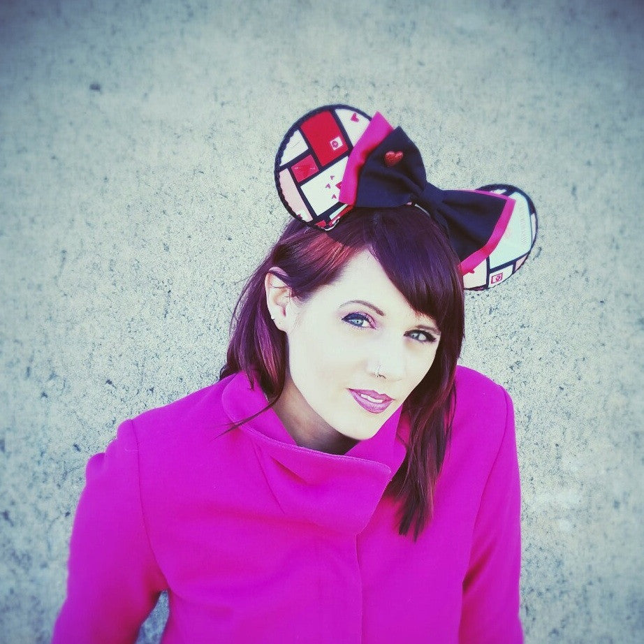 Valentines day mouse ears comfortears in red, pink and black.