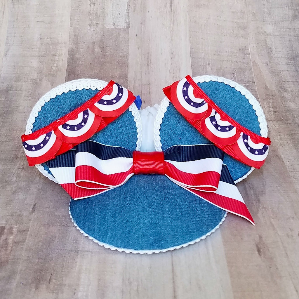 Main street bunting red, white and blue fascinator for disney 4th of july.