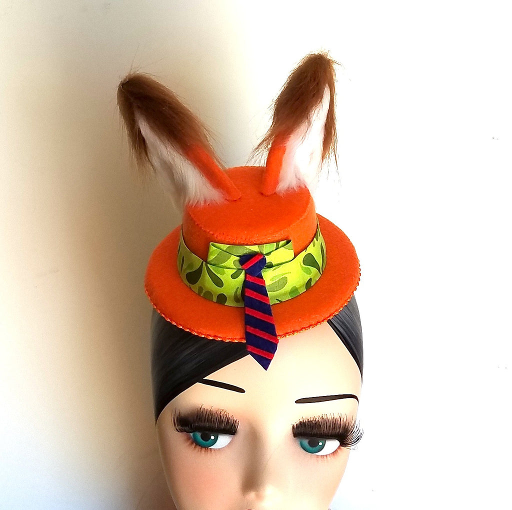Nick wilde zootopia mini hat with fox ears for disney dapper day or disneybound.