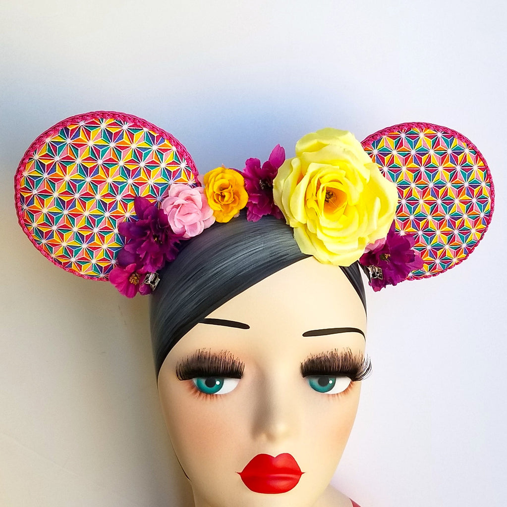Pink rainbow spaceship earth mouse ears. Epcot flower and garden crown comfortears by hat and mouse.