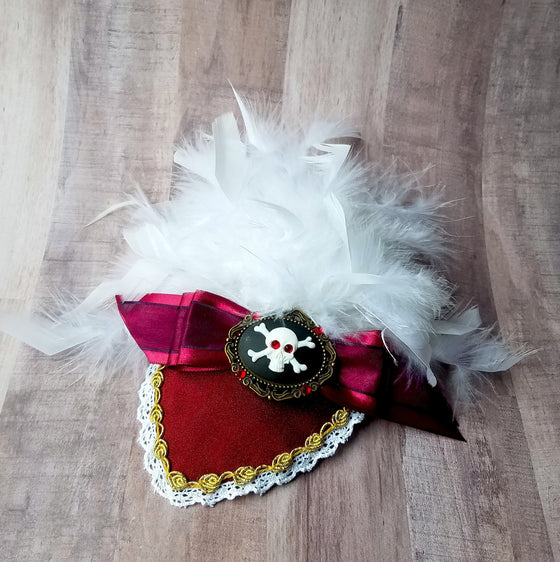 Captain Hook Pirate Dapper Day Disneybound Fascinator Hat In Burgundy With Feathers.
