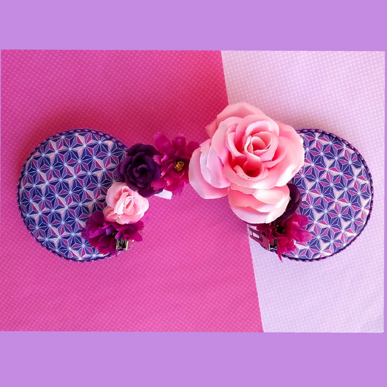 Pink and purple spaceship earth mouse ears. Epcot flower and garden crown comfortears by hat and mouse.