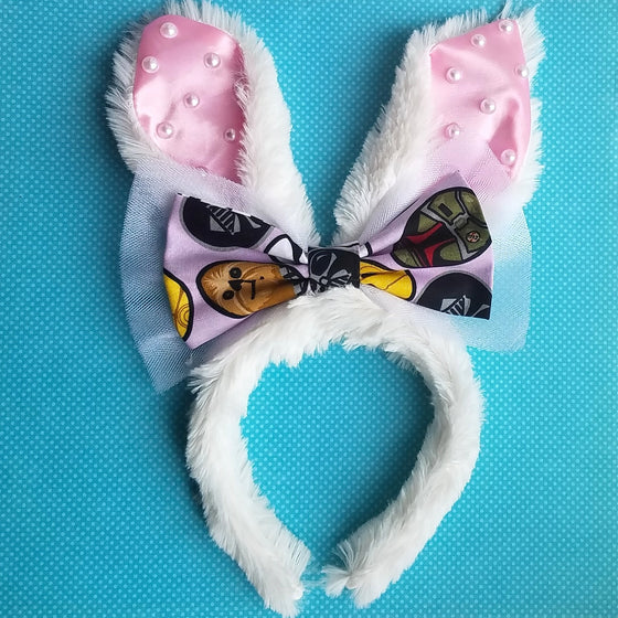 Plush bunny ears with star wars character easter egg bow in pink, purple or white.